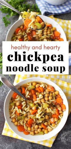 "Vegan ""Chicken"" Soup! This recipe tastes just like your classic chicken noodle soup, but vegan.  Chickpeas are a great chicken substitute in most soups. Whether you're feeling under the weather or are just craving a warm, nutritious soup - this bowl of goodness will hit the spot! Plant Based Recipes, Veggie Recipes, Soup Recipes, Healthy Recipes, Cauliflower Potato Soup, Sauteed Carrots, Veggie Stock, Vegan Soups, Noodle Soup"