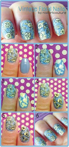 Creatively Clever Nail Art Hacks - Vintage Floral Nail Art - Easy DIY Ideas, Tips, And Tutorials For Nail Art Hacks. Every Girl Needs To Try These Awesome Ideas For Glitter, That Go Great With Makeup That Is Simple And It Works. These Hacks Are Step By Step And Easy And Clever.