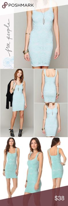 "BNWT Free People Dress Brand new with tags - Free People Seamless Medallion Slip Dress Lacy crochet figure-hugging slip dress, styled with contrast lining. A soft sweetheart neckline angles across the front, while the back falls into a deeply scooped curve. Fabric: Crochet - 92% nylon/8% spandex Approx. 33"" long Color: Ice Blue Size: XS/S and M/L Retail Price $68   Check out my closet for over 200 NWT Retail Items - Free People, Wildfox, Chaser, & many more!   All prices are negotiable. Make…"
