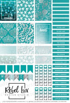 Printable stickers with Silhouette cut file in teal & silver damask with quotes…