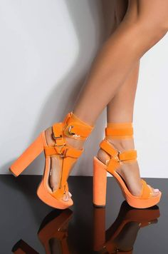Orange heels from akira for Sale in Romeoville, IL - OfferUp Stilettos, Pumps Heels, Stiletto Heels, Sandal Heels, Cute Heels, Lace Up Heels, Classy Heels, Orange Heels, Prom Heels
