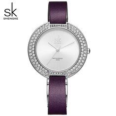 SK Women Watches New and Unique Dial Rhinestone Case Simple Dial Purple Leather Bracelet Female Quartz Movement Wristwatches Cute Fashion, Womens Fashion, Mens Gear, Purple Leather, Quartz, Bling, Female, Bracelets, Unique