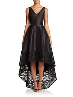 ML Monique Lhuillier - V-Neck Hi-Lo Dress