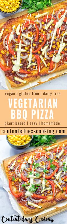 Vegetarian BBQ Pizza - easy to make, naturally vegan and gluten free. Insanely delicious and your new best friend for pizza night.