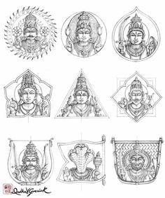 Navagraha_2_Drawing_DrdhaVG Outline Drawings, Art Drawings, Tanjore Painting, Mysore Painting, Indian Folk Art, Hindu Art, Mural Art, Murals, Traditional Paintings