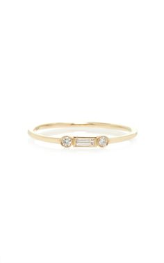 Baguette And Round Diamond Ring by SYDNEY EVAN for Preorder on Moda Operandi
