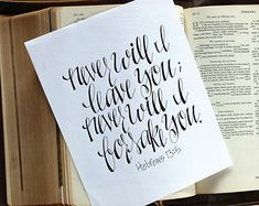 Custom Handwritten, Hand Lettering Calligraphy// Bible Verse, Scripture // Hebrews 13:5