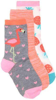 Olive & Edie Girls Flamingo Crew Socks - 3 Pack