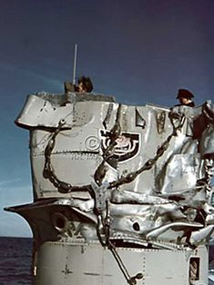 Damage to U-513 Conning Tower Cause by the Impact with the LORD STRATHCONA