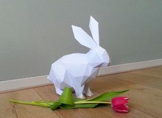 DIY paper sculpture bunny rabbit origami low polly von DearestBambi