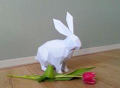 DIY paper sculpture bunny rabbit origami (low polly papercraft)