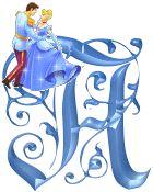 Alfabeto de Cenicienta bailando con el príncipe.