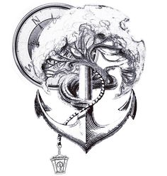 My concept tattoo idea. What you guys think? #tattoo #tree #anchor #compass…
