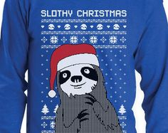 Slothy Xmas - Ugly Christmas Sweater Men's Long Sleeve T-Shirt