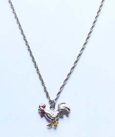 Vintage Sterling Silver 925 Rooster Pendant Necklace by paststore on Etsy