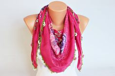 Fuchsia  flowered Turkish oya scarf Hand crocheted  by SenasShop, $24.00