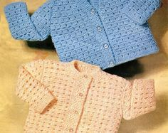 """CUTE CROCHETED CARDIGANS Pattern Newborn to 24 Months (2 sizes 18-22"""") Baby Girls Boys * Vintage Instant Download Kenyon Pdf 1143"""