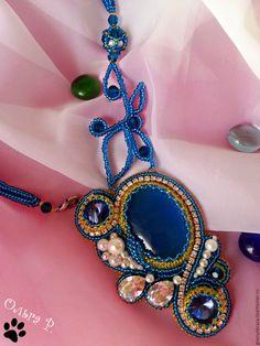 """Купить Кулон """"Голубое озеро"""" - синий, кулон с камнем, Кулон ручной работы, Бисероплетение"""