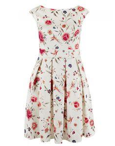 Closet Portobello coral and cream floral dress