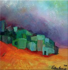 """Green Village""Prudencio Hernandez - Oleo s/tela 30 x 30 cm. - 2011-"
