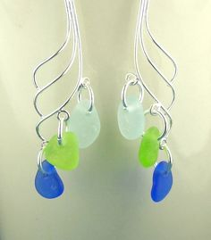 Eco Friendly GENUINE Sea Glass Earrings Sterling Silver Cobalt Aqua Green