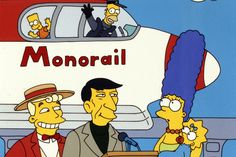 """Leonard Nimoy guest in the Simpsons """"Marge vs. The Monorail"""". Simpson Wave, The Simpsons Show, Simpsons Episodes, Leonard Nimoy, Homer Simpson, Pop Culture, Animation, Stickers, Caricatures"""