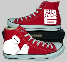 Hand Painted Converse Hi. Big Hero 6. Robot Baymax. Handpainted Shoes. V2, $100.00+ - Etsy.com - ugh, I want these so bad, but they're sooo expensive. Dx
