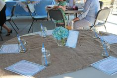 Country boy baby shower burlap with mason jars and hydrangea centerpieces