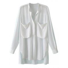 White Pocket Long Sleeve Blouse (80 BRL) ❤ liked on Polyvore