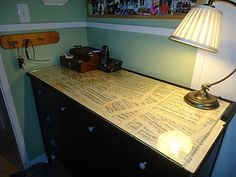 Entry dresser refinished and sheet music with glass top