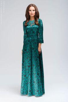 Платье длины макси изумрудное с черным цветочным орнаментом DM00266GR