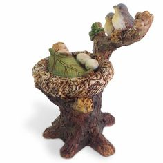 "2.5/"" Tall Fiddlehead Fairy Garden WIZARD with Staff Figurine Stake"