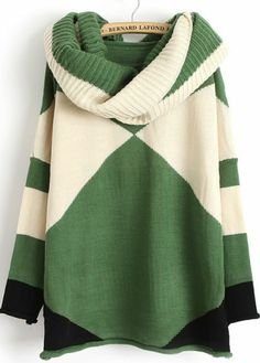 Green Contrast White Long Sleeve Scarve Geometric Sweater pictures