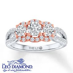Leo Engagement Ring 1 1/3 ct tw Round-cut 14K Two-Tone Gold #LeoDiamond #VisiblyBrighter