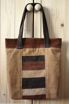 Corduroy Patchwork Tote Bag by MoniqueBoutiqueMB on Etsy