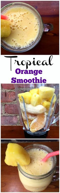 Ingredients  I large Orange, peeled  I Banana, peeled  1/2 cup Frozen Pineapple  1/2 cup Almond Milk Simple Smoothie Recipes, Tropical Smoothie Recipes, Energy Smoothie Recipes, Low Calorie Smoothies, Simple Smoothies, Smoothies To Lose Weight, Weight Loss Smoothie Recipes, Protein Smoothie Recipes, Banana Recipes Low Calorie