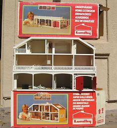 Vintage Lundby Stockholm Dollhouse & Extension & Boxes 1:16 Scale