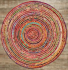 Multi Natural Round Rug. #homedecor #rug #boho #colorful #bright #ebhome #earthboundtrading