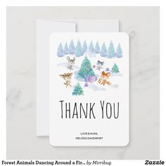 Forest Animals Dancing Around a Fir Tree Thank You Card Save The Date Invitations, Save The Date Cards, Birthday Invitations, Whimsical Christmas, Christmas Tree, Dancing Animals, Bunny Birthday, Fir Tree, Good Cheer