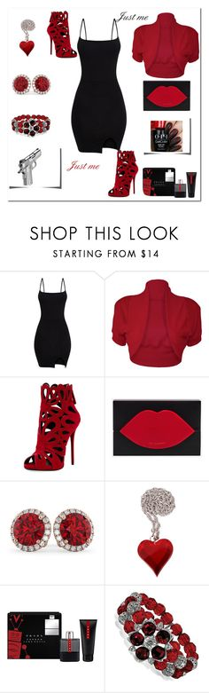 """""""My style"""" by exoduss ❤ liked on Polyvore featuring WearAll, Giuseppe Zanotti, Lulu Guinness, Allurez, Prada, 1928, justme, redblack, protectyourself and cocktailset"""