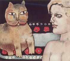 """Franco Gentilini (Italian, 1909-1981) - """"La Ragazza e il Gatto"""" (The Girl and the Cat), 1977 - Color aquatint"""