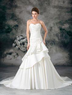 cd7ff4dedaf Milanoo   Ivory A-line Sweetheart Neck Flower Satin Wedding Dress For Bride