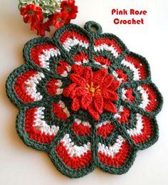 \ PINK ROSE CROCHET /: Crochet Ripple Potholder - Pega Panelas de Crochê
