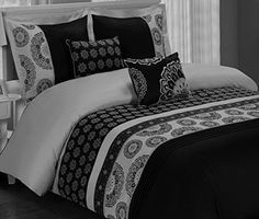 Moroccan Boho Medallion Black Grey Cotton 5 Piece Bedding Duvet Comforter Cover and Shams Set with Decorative Pillows. Elegant bedding ensemble for a trendy Bohemian bedroom decor. Modern Duvet Covers, White Duvet Covers, Bed Duvet Covers, Duvet Cover Sets, Comforter Cover, Boho Bedding, Duvet Bedding, Black Bedding, Luxury Bedding