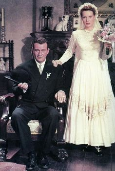 """I know he was mostly known for westerns, but this is my favorite John Wayne movie of ALL time! John Wayne and Maureen O'Hara in """"The Quiet Man"""" 1952 Golden Age Of Hollywood, Vintage Hollywood, Hollywood Glamour, Hollywood Stars, Classic Hollywood, Hollywood Actor, Classic Movie Stars, Classic Movies, Iconic Movies"""