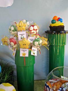 Treats at a Super Mario Bros Party Send this to mad cake pops in LA -mf Super Mario Birthday, Mario Birthday Party, Super Mario Party, Birthday Parties, Birthday Ideas, Mario Y Luigi, Mario Kart, Cake Pops, Video Game Party