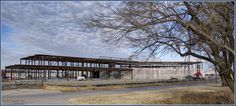 Wichita Library, January 1, 2017 with completed steel structure. This is the front of the library, the entrance is to the right of the middle of this picture.