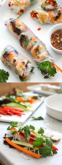 Vietnamese grilled shrimp spring rolls (via Foodie Crush). Pork Rib Recipes, Shrimp Recipes, Asian Recipes, Appetizer Recipes, Ethnic Recipes, Appetizers, Shrimp Meals, Shrimp Dishes, Asian Foods
