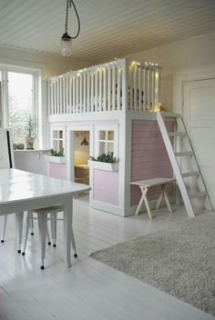 Little Girls Shared Bedroom Small Space Makeover Something as simple as this with an added slide could work in the preschool area. The post Little Girls Shared Bedroom Small Space Makeover appeared first on Toddlers Diy. Play Beds, Kids Bunk Beds, Loft Beds, Little Girl Rooms, Dream Rooms, My New Room, Small Spaces, Bedroom Decor, Bedroom Ideas