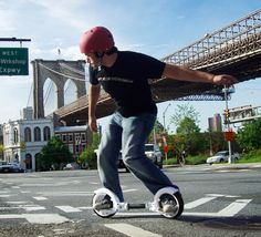 A self propelled hubless skate that allows you to rule the flat ground and any skate park! The features include 9-inch polyurethane hubless wheels, weighs 7.3 lbs, easy folding system, solid aluminum frame, durable composite body parts, and two slip-resistant footboards. The wheels are connected via a double-jointed, twisting axle, which allows the rider to twist their body and move their feet inwards and outwards, to propel the board forwards.